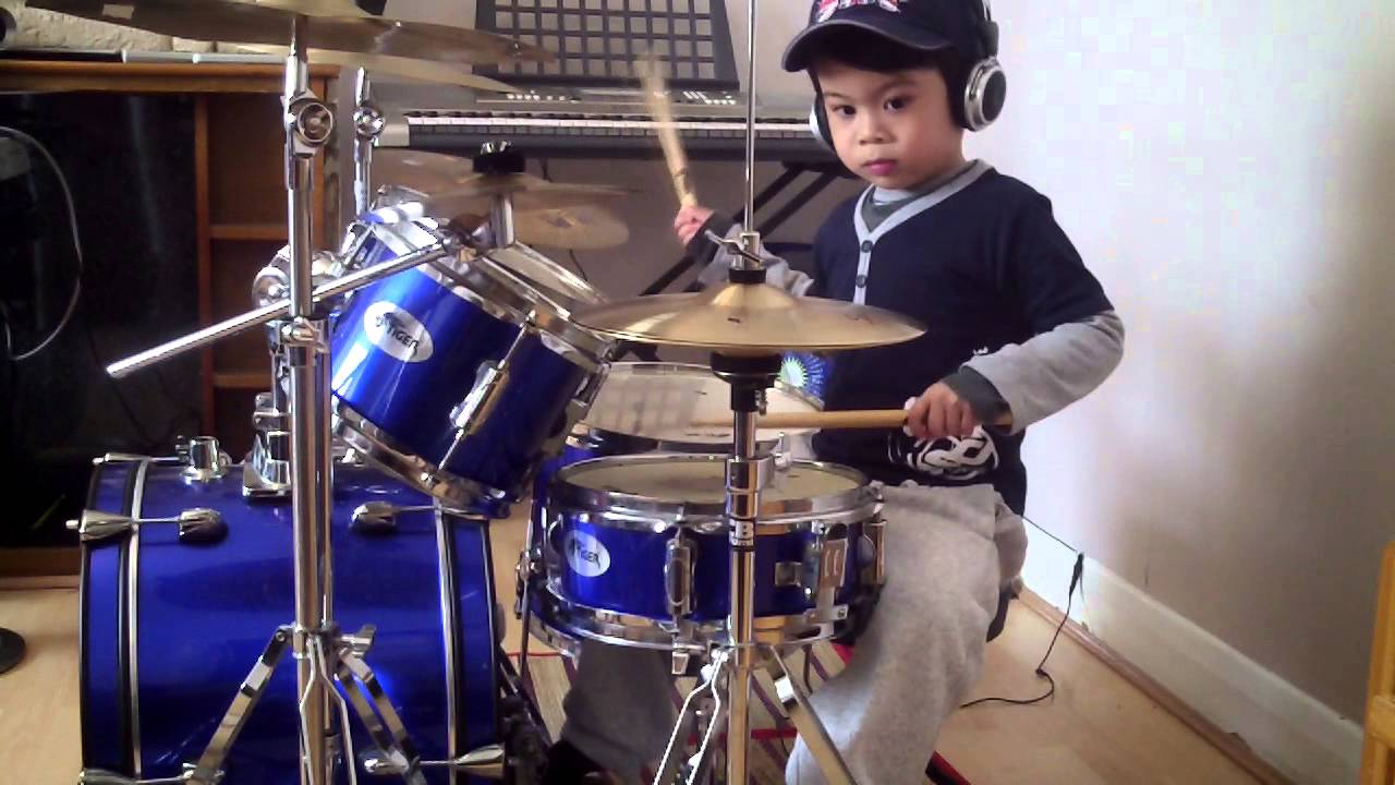 drums and drumming kid playing